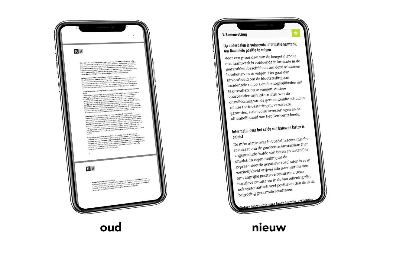 Leesbaarheid op mobiel van PDF vs mini-website.